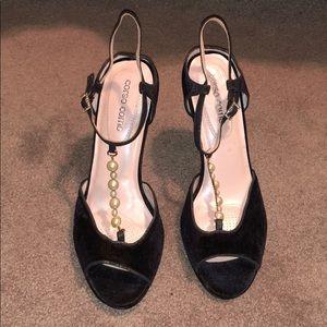Corso Como Velvet Pearl T-Strap Heels